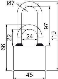 Visací zámek RV.OVAL.45 SU6