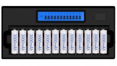 Nabíječka baterií AA na 12ks, s displejem